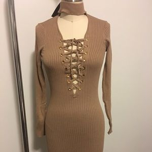 Hera Collection Bodycon Tan Ribbed Lace-up Dress